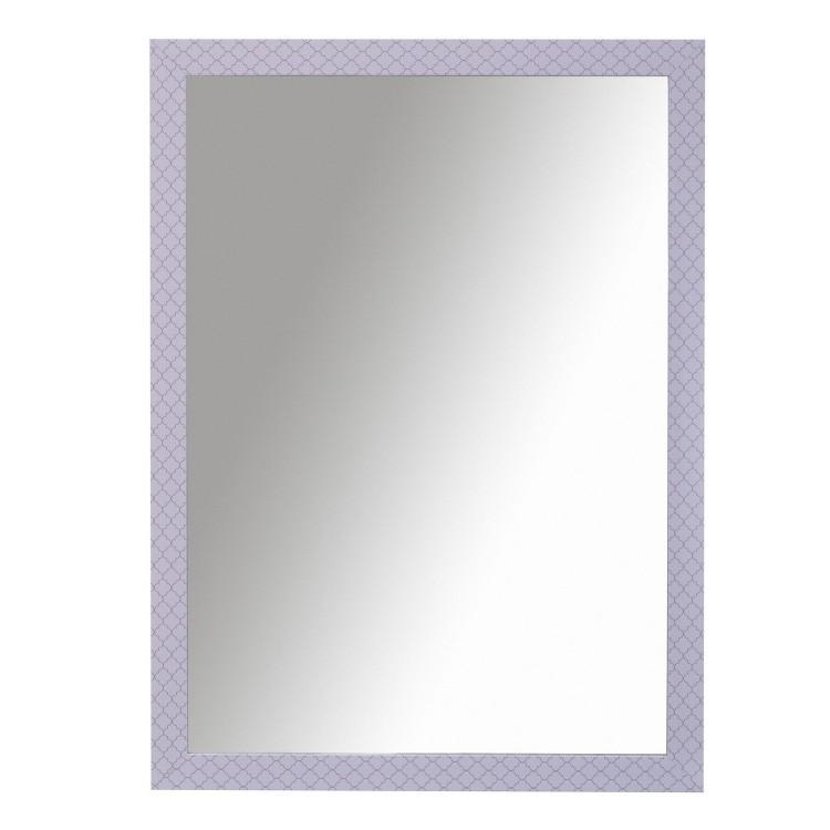 Espejo de pared de color blanco con motivos en rosa. Diseño joven y actual. Hogar y más