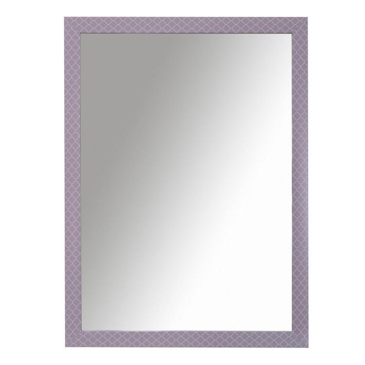 Espejo de pared de color malva con motivos blancos. Diseño joven y actual. Hogar y más