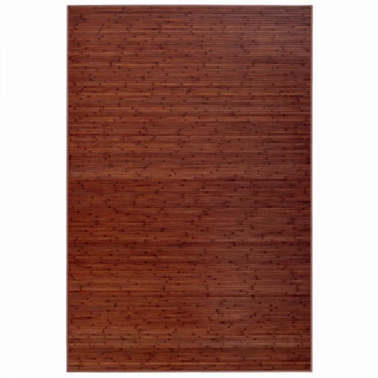 Alfombra marrón de Bambú Natural  de rayas práctica. Hogar y Más