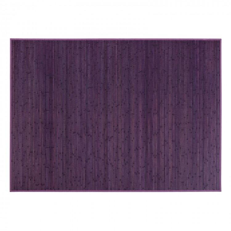 Alfombra violeta de Bambú Natural de rayas. Hogar y Más
