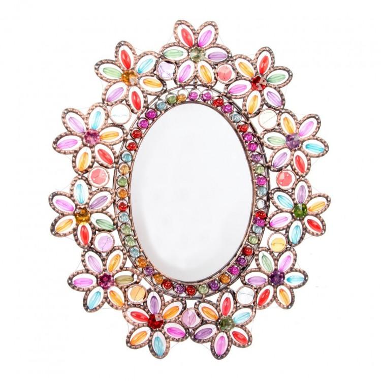 Espejo de metal con decoración colorida y alegre. Hogar y Más