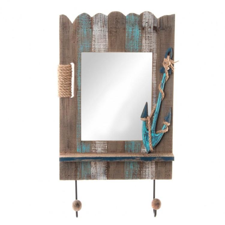 Espejo perchero de madera práctico con decoraciones navales Edición Barlovento  - Hogar y más.