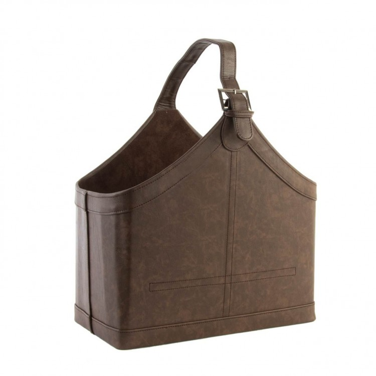 Revistero marrón transportable de polipiel y con asa. Hogar y Más.