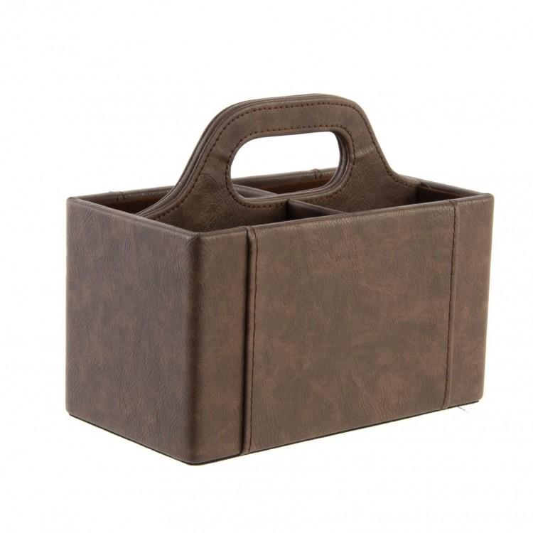 Portamandos marrón práctico de polipiel transportable con asa. Hogar y Más.