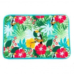 Alfombra colorida alegre con diseño Tropical. Hogar y Más
