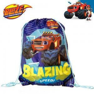 Hogar y más- Mochila- saco con el personaje Blaze. Diseño divertido y colorido.