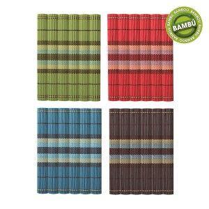 Mantel Individual Bambú Natural Diseño Étnico en Cuatro Colores Seis Unidades