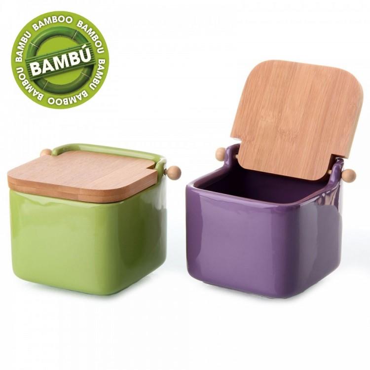 Salero cuadrado de cerámica con tapa de bambú de Hogar y Mas