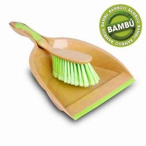 Recogedor con cepillo de bambú