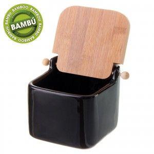 Salero cuadrado de cerámica con tapa de bambú.  Color negro