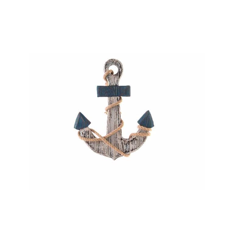 Hogar y Más - Adorno de Pared  de madera diseño de Ancla Náutica  Barlovento