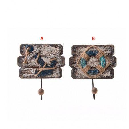 Hogar y Más - Perchero de pared decorativo de madera Barlovento Set de 2