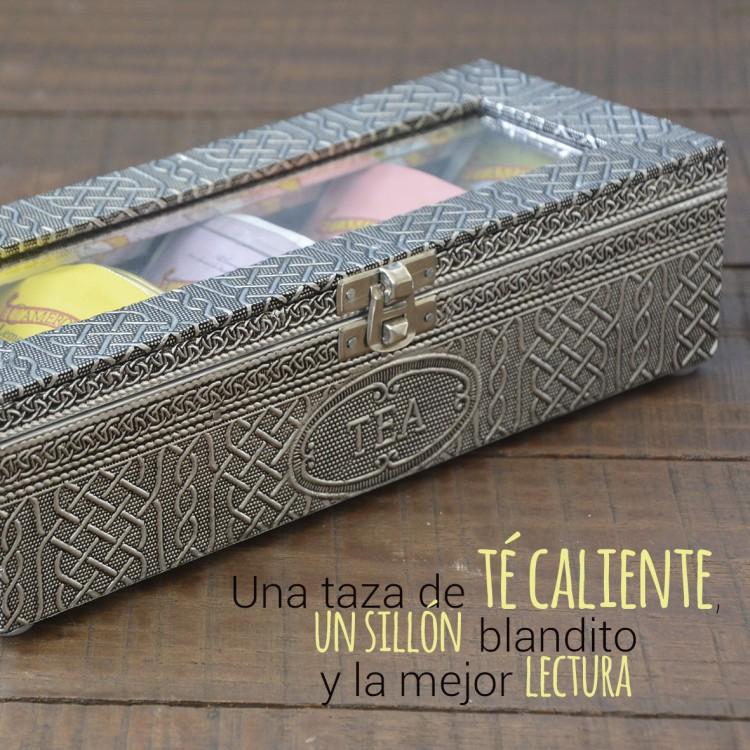 Caja de madera envejecida para organización de infusiones Edición Vintage - Hogar y más.