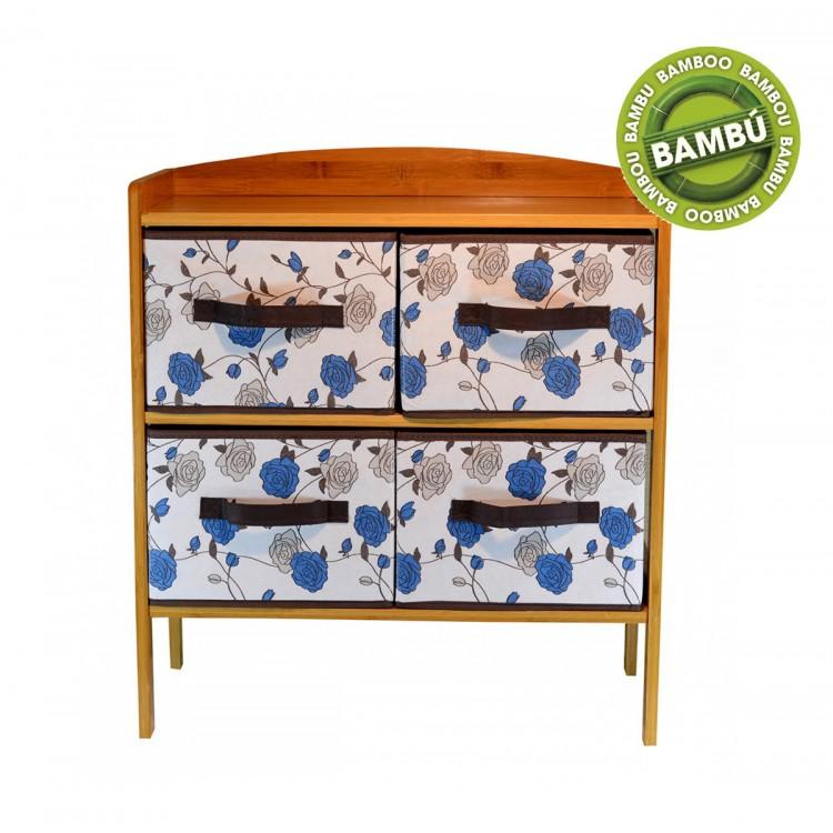 Mueble con cajones. Fabricado en Bambú natural 4 cajones Floral (32x63x59cm)