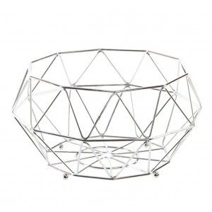 Fruit bowl in chrome-plated Metal. Industrial design. Home and more