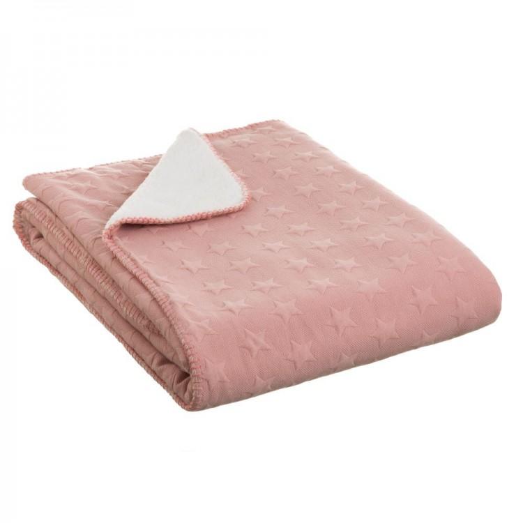 Hogar y Más - Manta de sofá rosa de tacto agradable y calentita diseño Star Jacquard