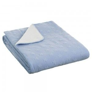 Hogar y Más - Manta de sofá azul de tacto agradable y calentita diseño Star Jacquard