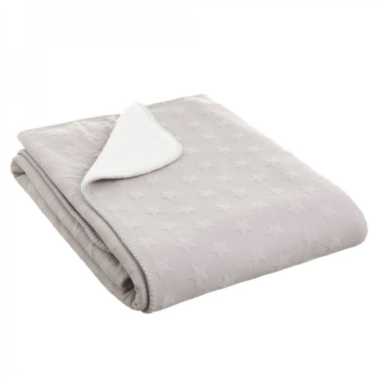 Hogar y Más - Manta de sofá gris de tacto agradable y calentita diseño Star Jacquard