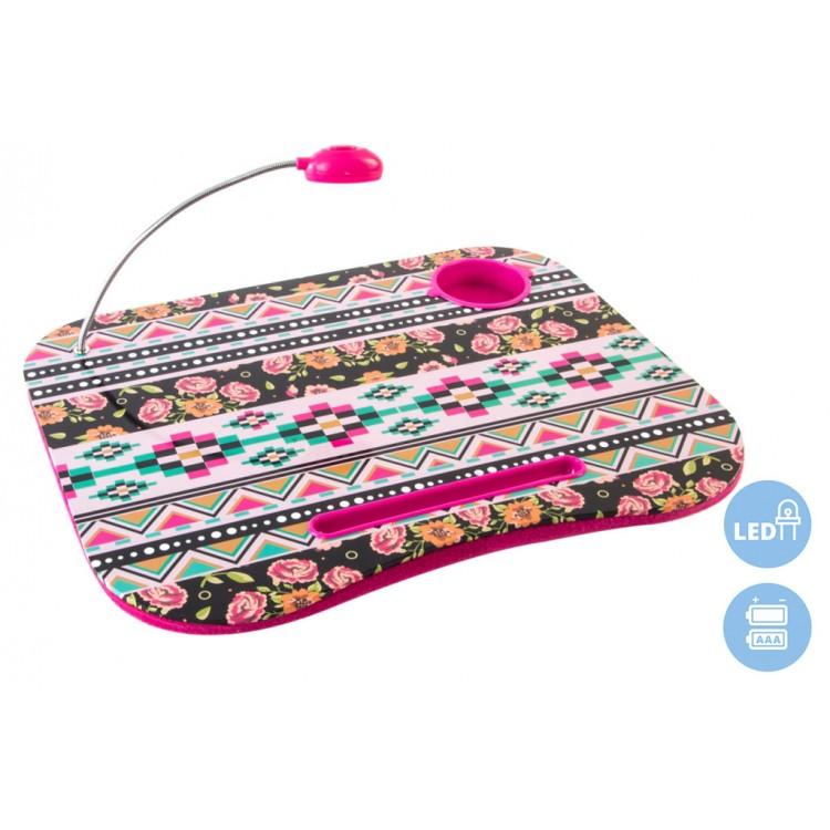 Hogar y Más - Bandeja de portátil práctica y cómoda acolchada con luz Led diseño geométrico y floral