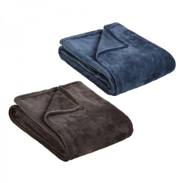 Hogar y más -  Manta de sofá de poliéster. Disponible en dos colores. Muy suave.