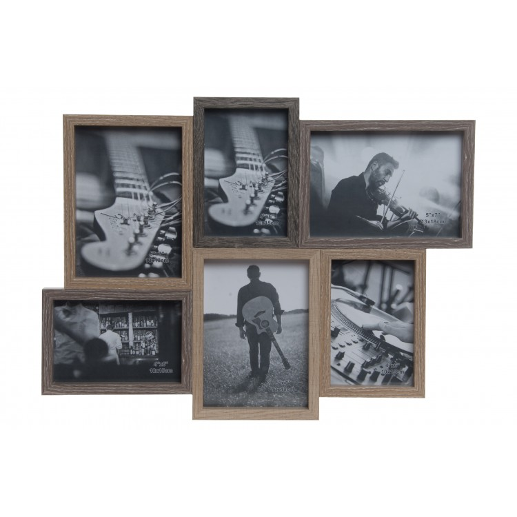 Hogar y más - Marco multifoto de madera con capacidad para 6 fotos. Diseño Natural.
