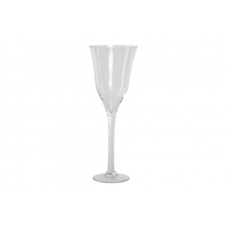 Hogar y Más - Jarrón de copa de cristal transparente minimalista para salón