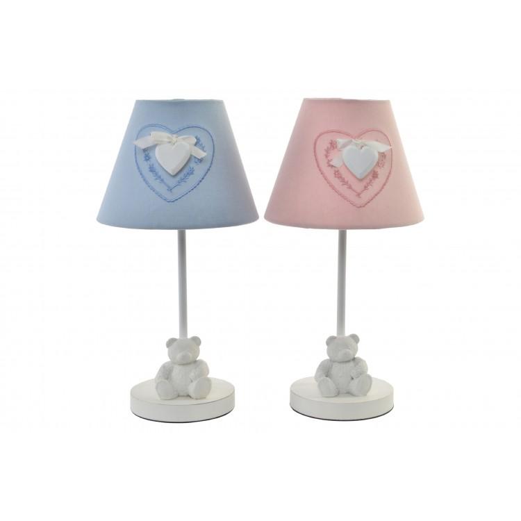 Hogar y Más - Lámpara de sobremesa simpática y amorosa en color azul o rosa con figura de osito