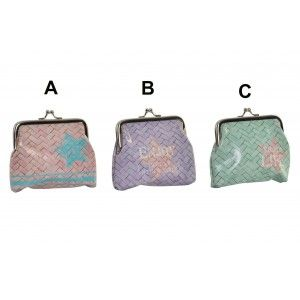 Home and More - Purse closure with classic design motivating printed Enjoy Life in 3 colors