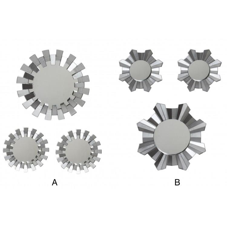 Hogar y más - Set de 3 espejos plateados de resina. 2 modelos