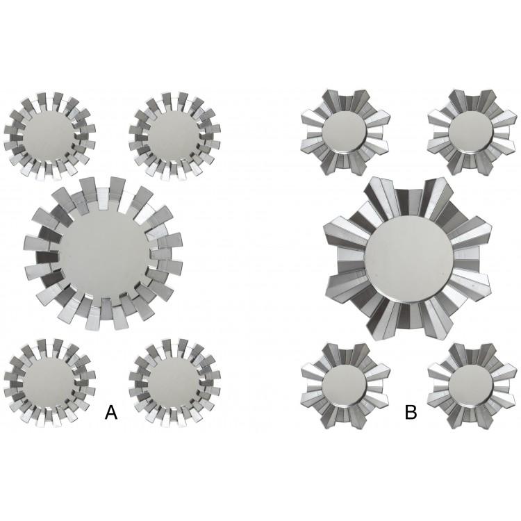 Hogar y más - Set de 5 espejos de pared color plata.