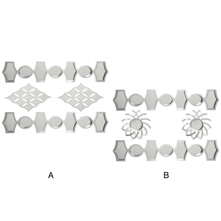 Hogar y más - Set de 4 espejos para la pared de color plateado. 2 modelos