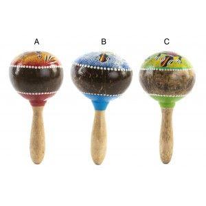 Hogar y más - Maracas de corteza de Coco para decoración. 3 modelos