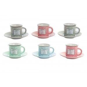Hogar y más - Set de 6 tazas y 6 platos. Para café