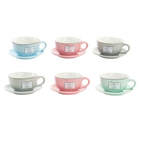 Hogar y más - Set de 6 tazas y 6 platos para café