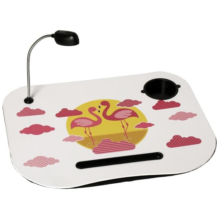 Hogar y más -Bandeja de portátil práctica y cómoda acolchada con luz Led diseño amoroso de flamencos.