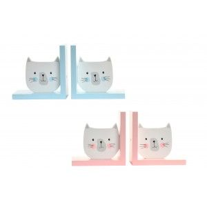 Home and more - Set of 2 Bookends made of Wood. Kitten