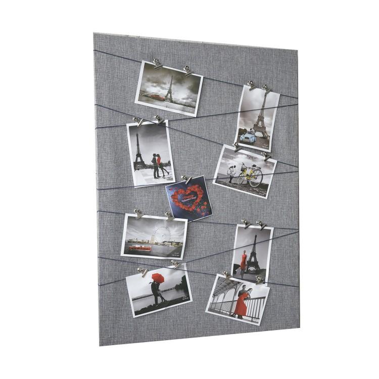 Hogar y Más - Marco multifoto gris original de lienzo textil con sujección por pinzas Memories