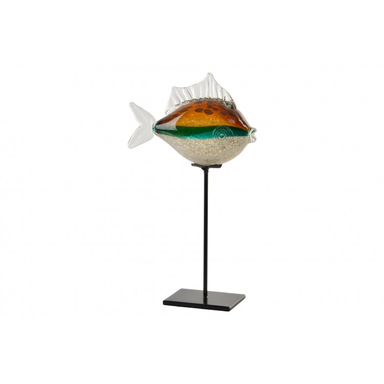 Hogar y Mas-Figura decorativa de cristal con forma de pez, con base de metal