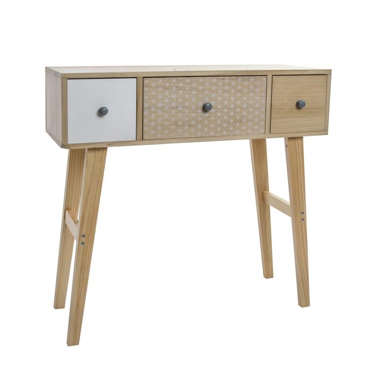 Consola de madera natural con tres cajones. Diseño Nórdico con estilo étnico. - Hogar y más.