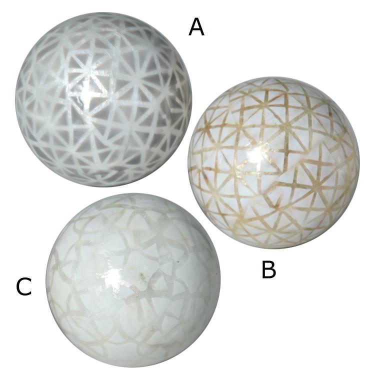 Hogar y Más - Bola decorativa de nácar con diseño geométrico France