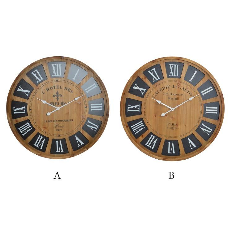Hogar y más - Reloj de pared en madera modelo París. Diseño Natural y elegante.