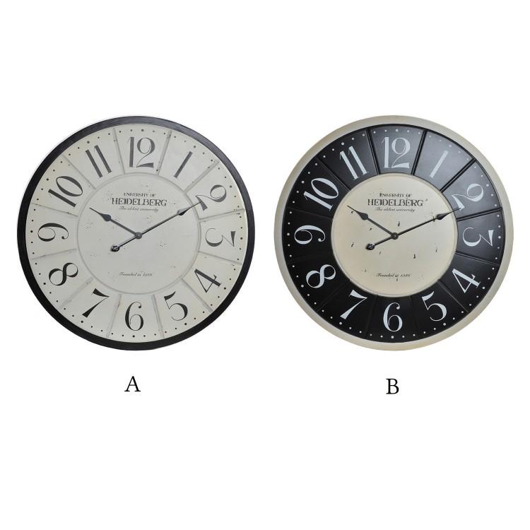 Hogar y más - Reloj de pared en madera modelo Heidelberg. Diseño vintage industrial.