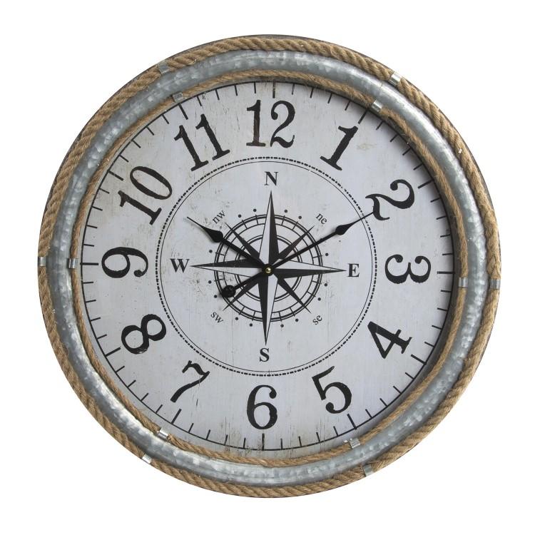 Hogar y más - Reloj de pared en metal modelo aventurero. Rosa de los vientos, Colección Barlovento.
