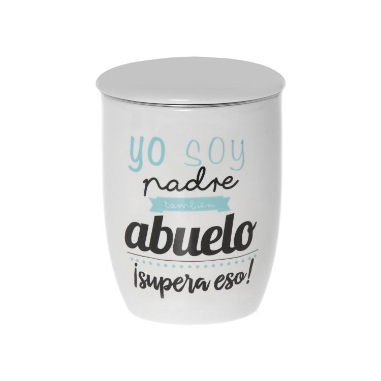 Hogar y Más - Taza de infusión con frase Motivadora de cerámica natural con filtro de acero inoxidable Modelo Abuelo
