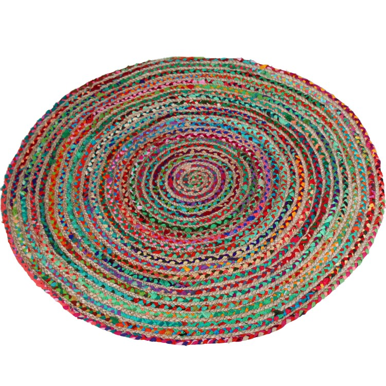 Hogar y Más - Alfombra redonda de diseño étnico multicolor de mimbre y algodón natural