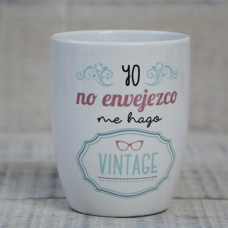 Hogar y Más - Taza de infusión con frase divertida de cerámica natural con filtro de acero inoxidable Modelo Vintage