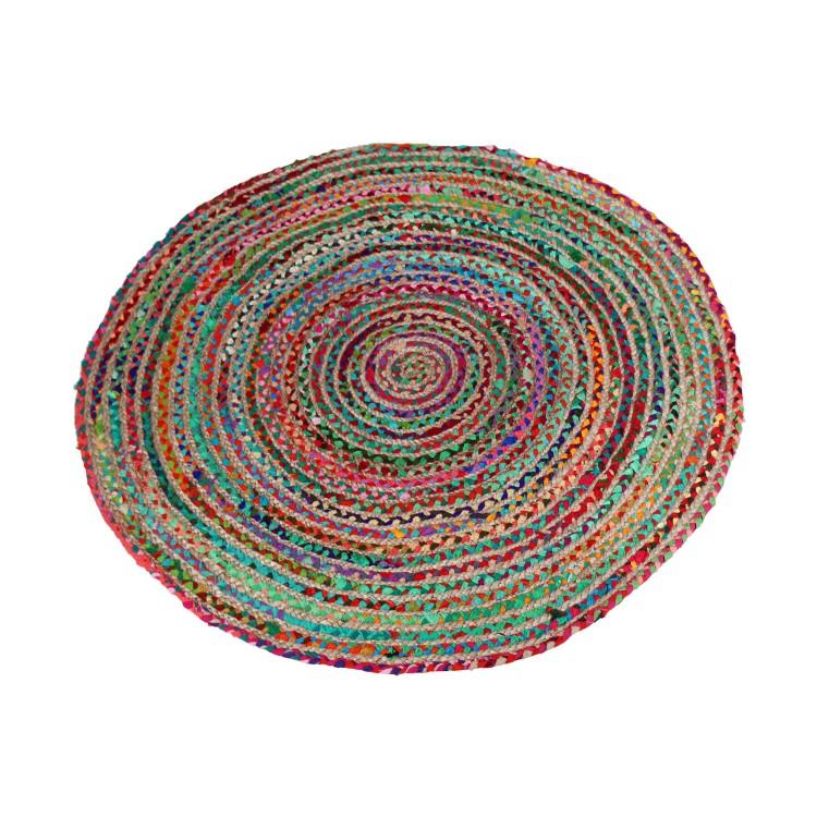 Hogar y Más - Alfombra redonda  de diseño étnico colorido de mimbre y algodón natural