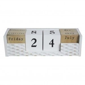 Home and more - Calendar wooden perpetual. Natural style with white design.