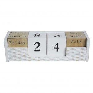 Hogar y más - Calendario de madera perpetuo. Estilo natural con diseño blanco.