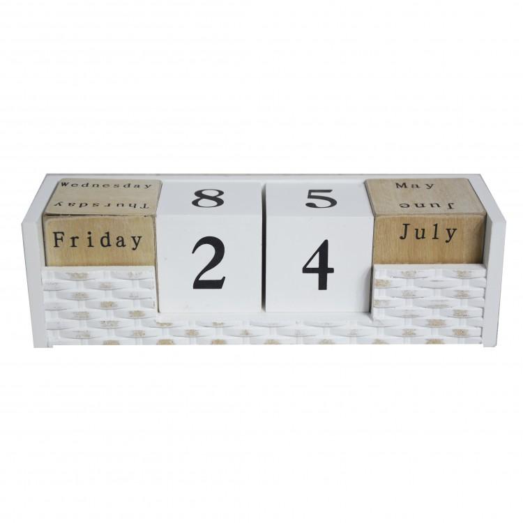Calendario de madera natural perpetuo. Diseño neutro - Hogar y más